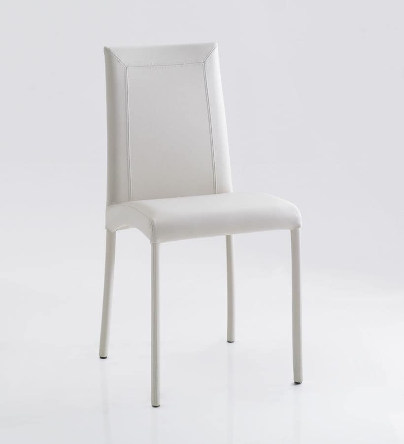 Cassandra, Chair upholstered in leather, in different colors, for home and business use