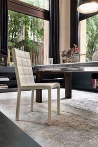 COLETTE, Metal and wood chair, padded with rubber
