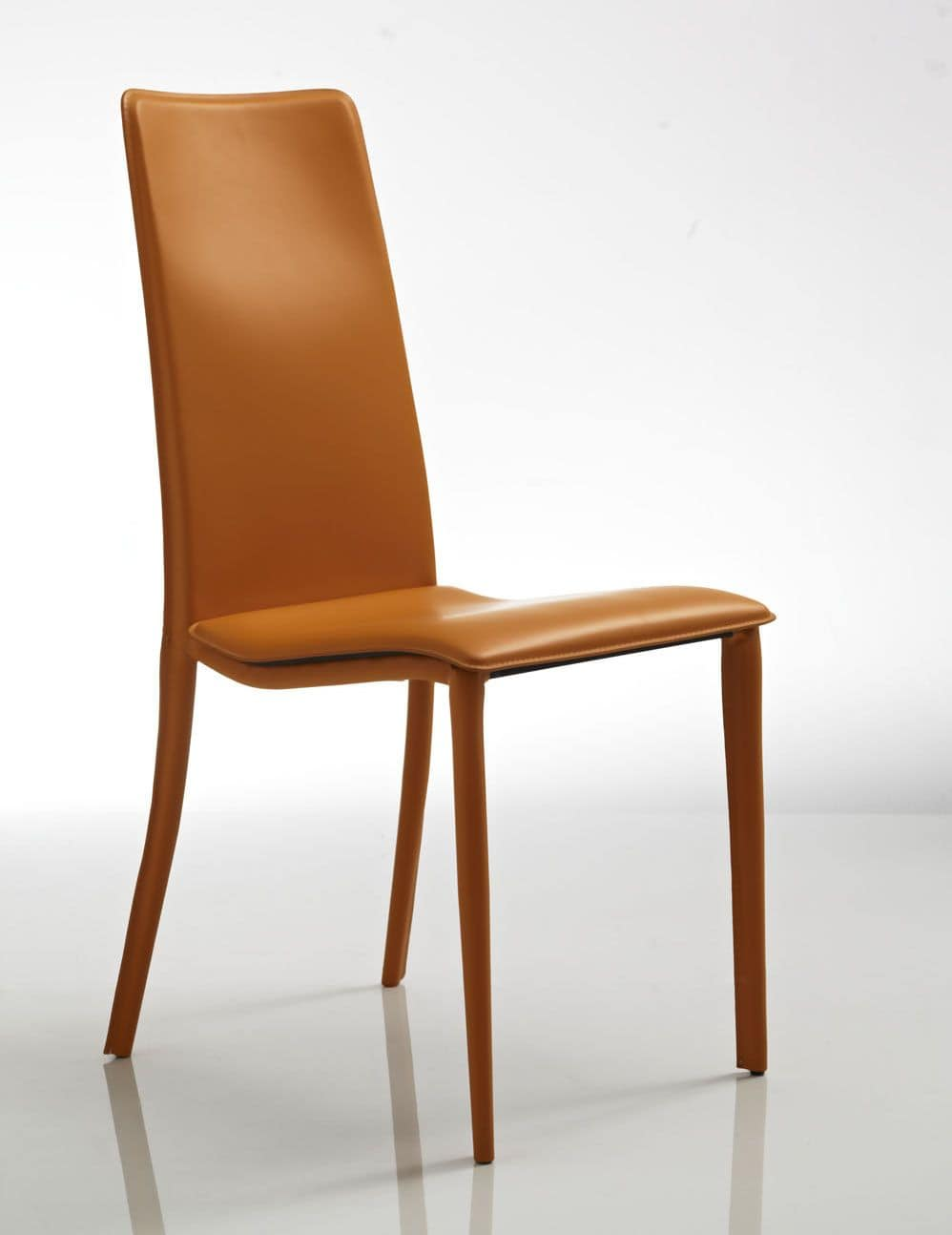 Cora, Comfortable chair, in orange leather, for restaurant and hotel