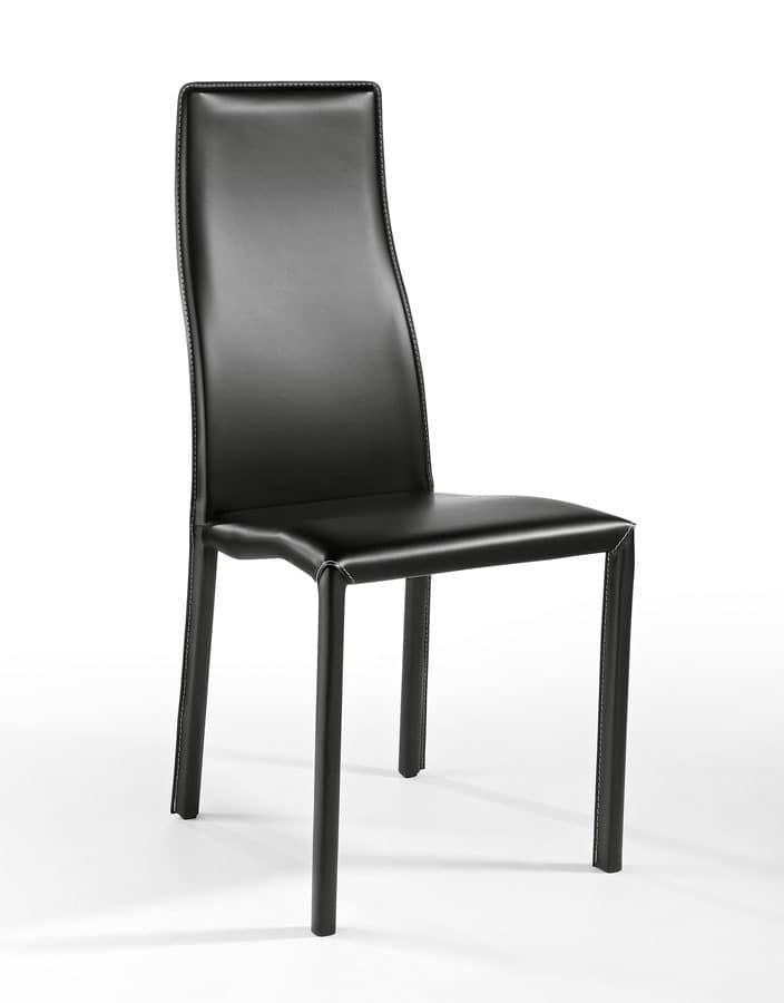 Cuba, Modern chair upholstered in leather, lightweight, for bars