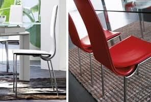 DEIRA, Modern dining chair covered with non-removable leather