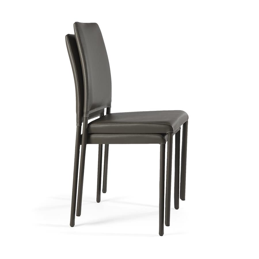 Emi, Stackable chair fully covered with leather
