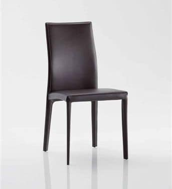 Fortune, Chair with modern lines, completely upholstered in leather, for home hotel and restaurant