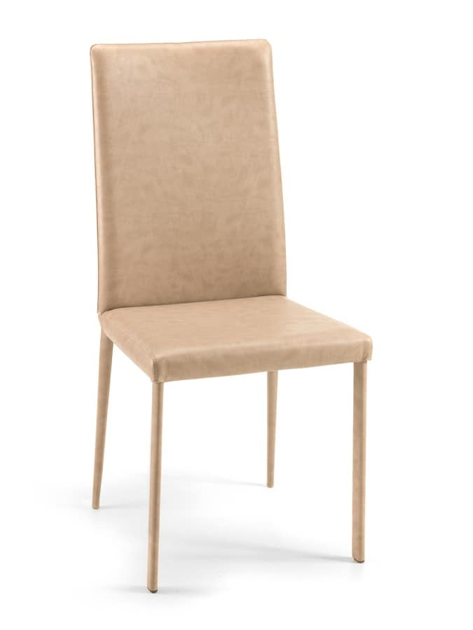 Gaiarine high, Chair upholstered in faux leather for modern kitchens