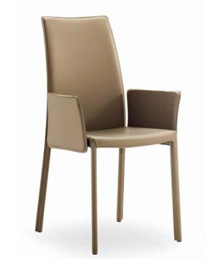 Giselle-AP, Leather chair with armrests and high backrest