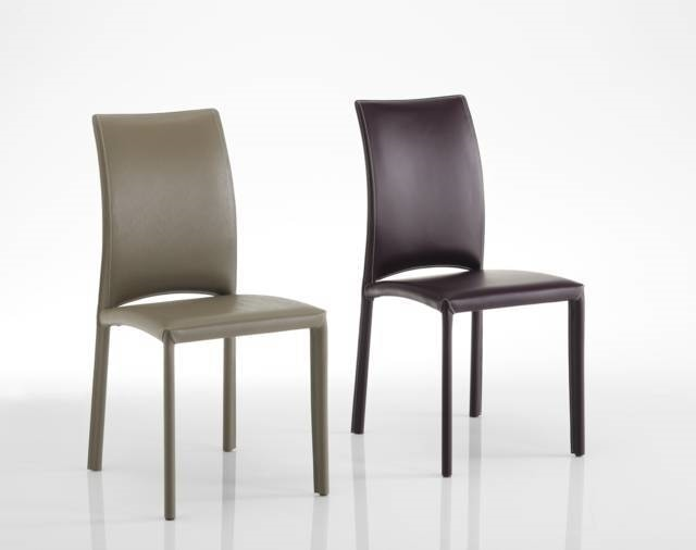 Gourmet, Chair upholstered in leather, different colors available, with and without arms