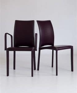 Gourmet with armrests, Chair with armrests, fully upholstered in leather, for hotel and dining room