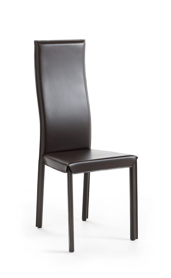 Jacqueline H, Dining chair, with high backrest, leather upholstery