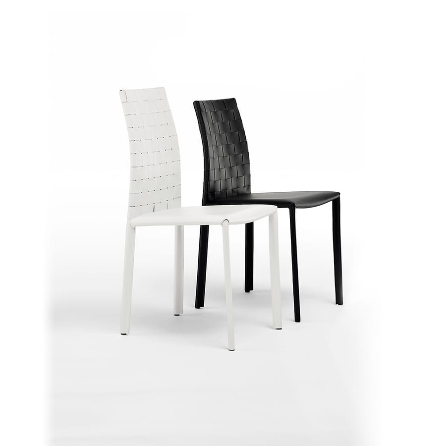 Agata woven low, Chair in painted steel covered in leather, for Living room