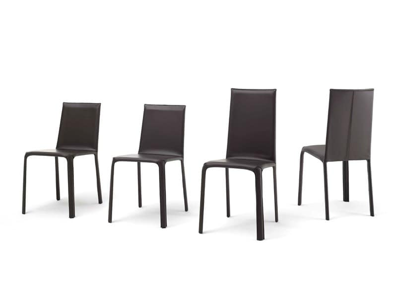 Jenia high, Dining chair in metal, leather and rubber