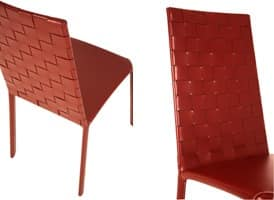Jenia high woven, Leather chair, in steel and rubber, for living room