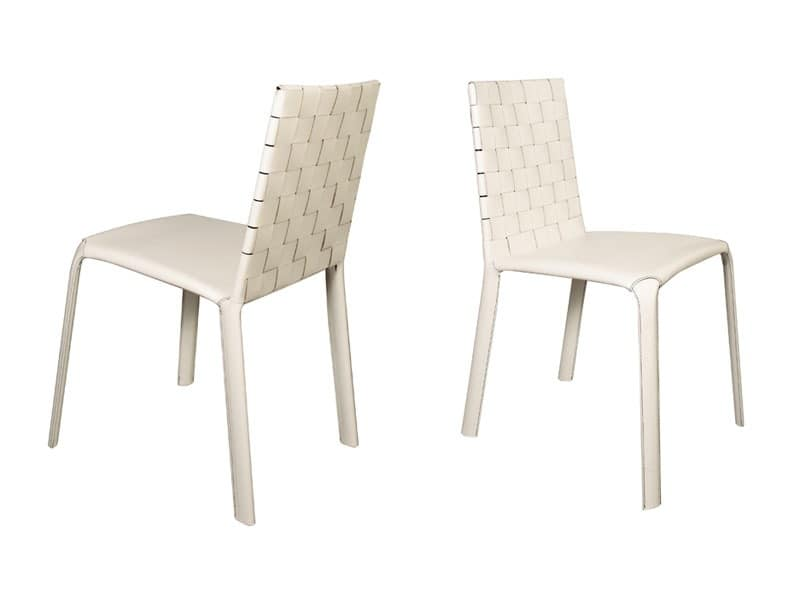 Jenia low woven, Modern dining chair, in leather, for breakfast room