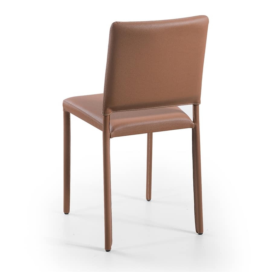 Jerry, Metal and leather dining chairs, stackable, fireproof