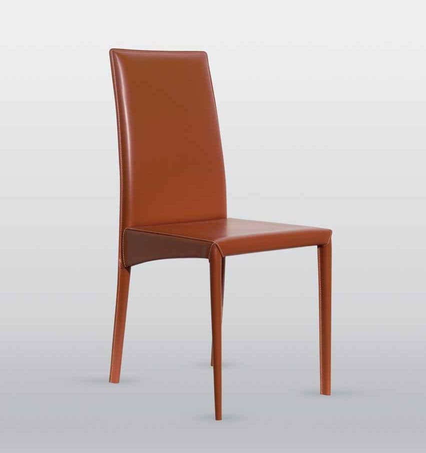 Jessica, Leather chair, with steel frame, available in various finishes
