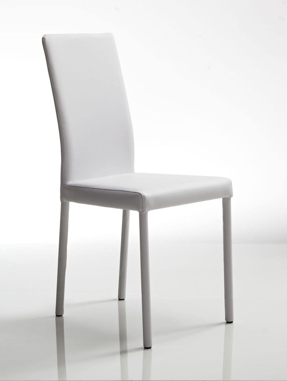 Juno, White leather chair, steel frame, for restaurant and residential use