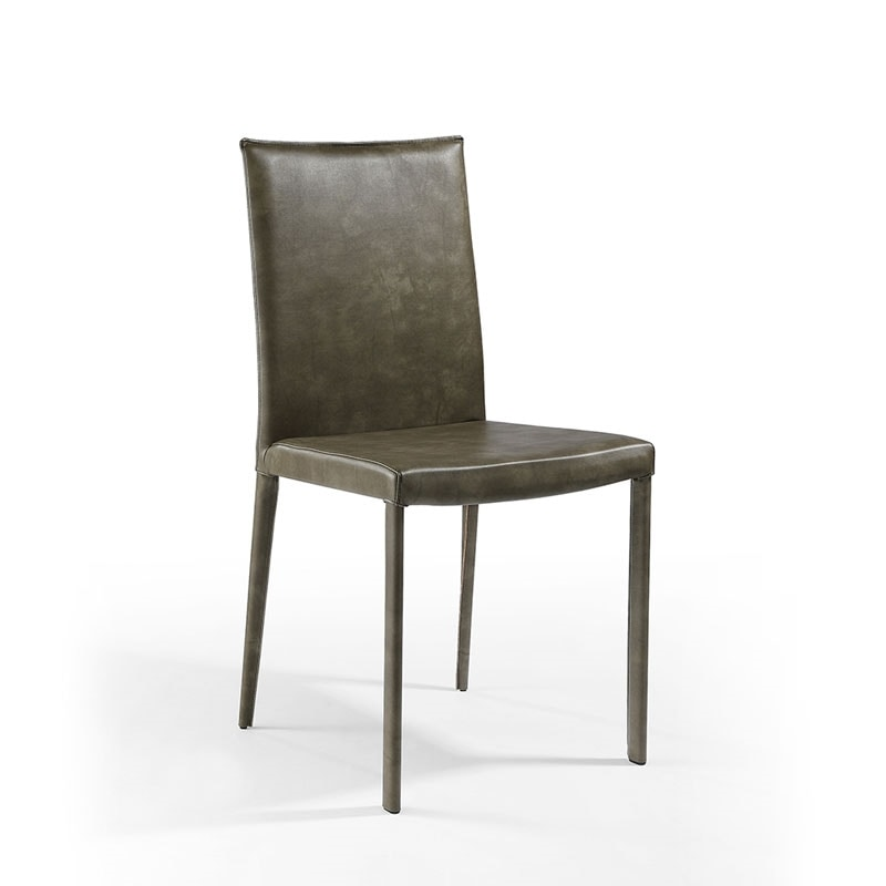 Jury low, Digning chair, padded in leather, for restaurant