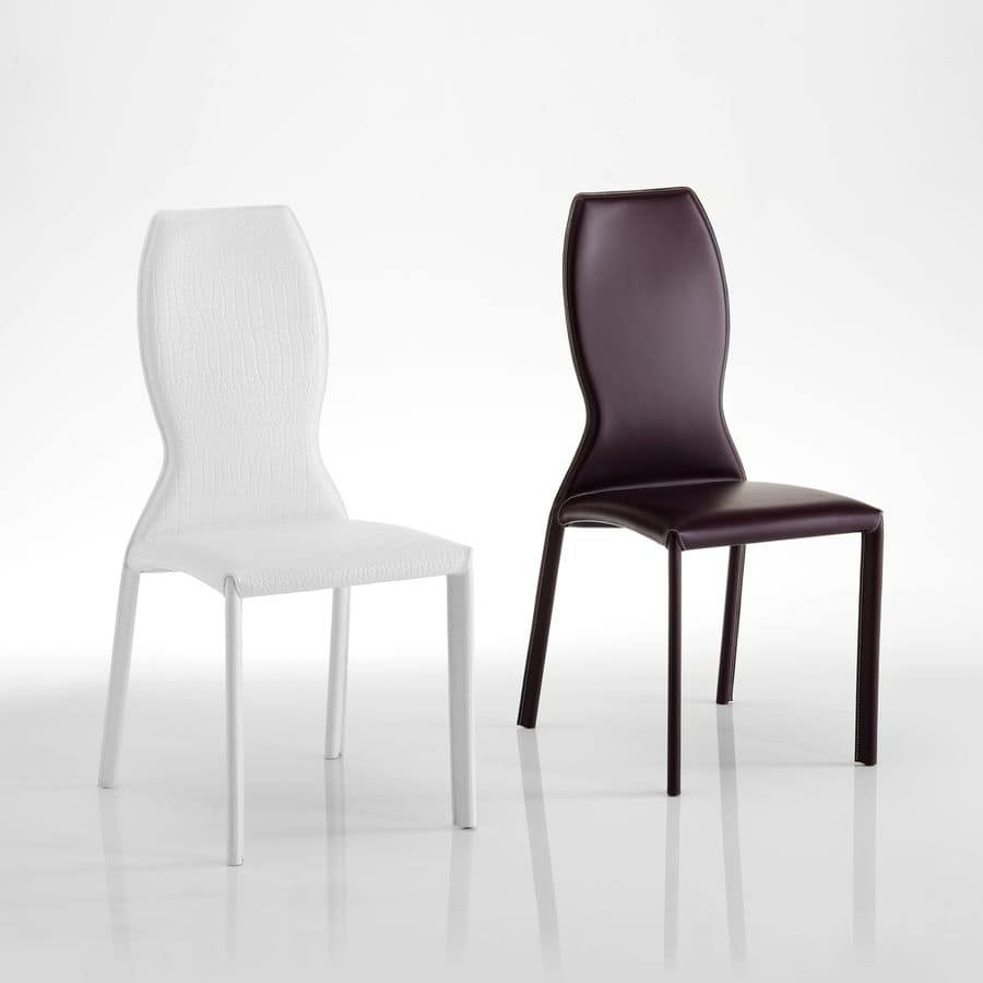Kimora, Leather chair, with shaped backrest, suitable for elegant dining rooms