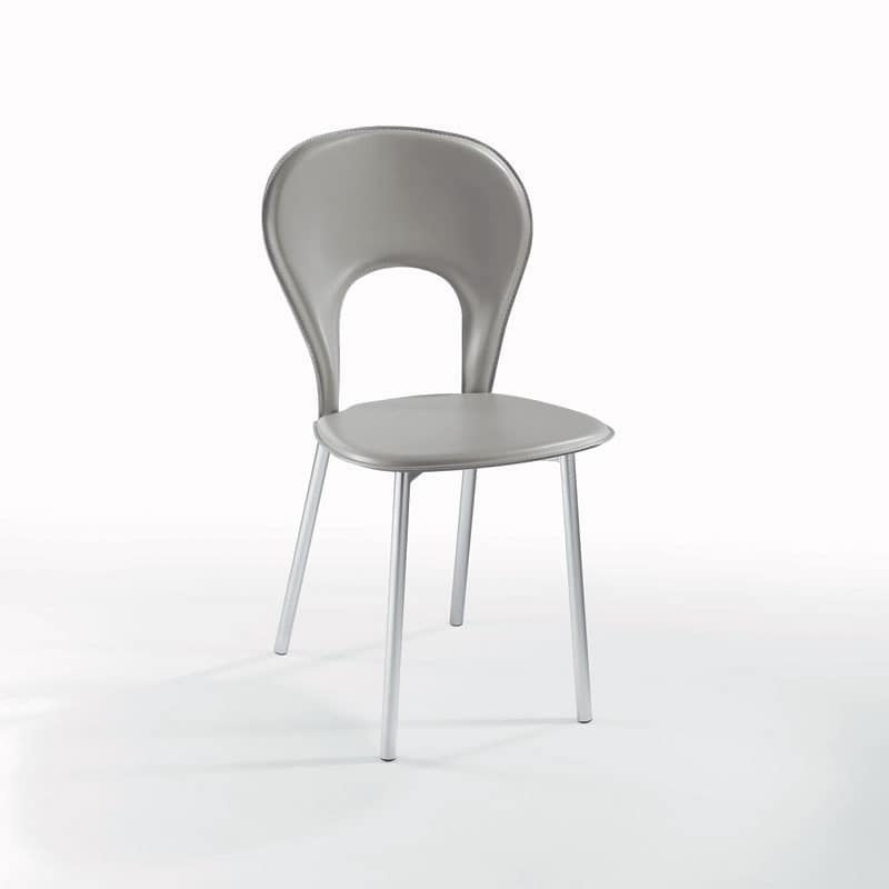 Lama, Dining chair, covered in leather, chrome round legs