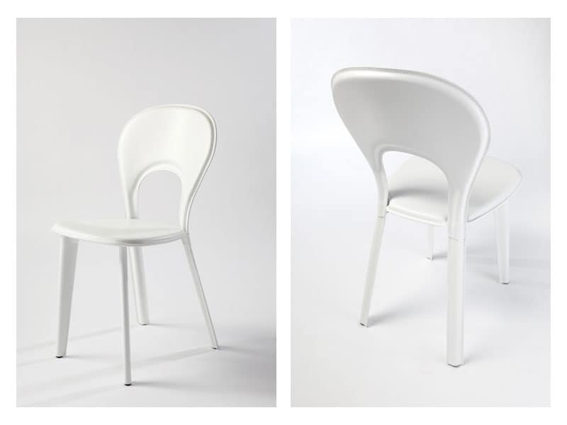 Lancio, Cushioned dining chair, in leather, for naval furniture