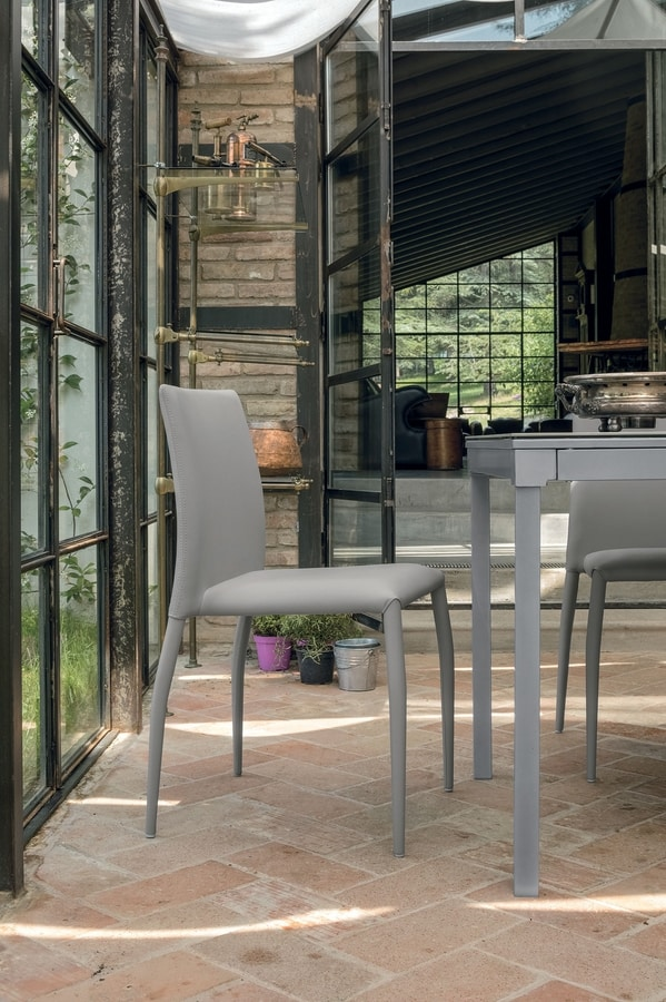LILY SE610, Chair with leather covering ideal for kitchen and bar