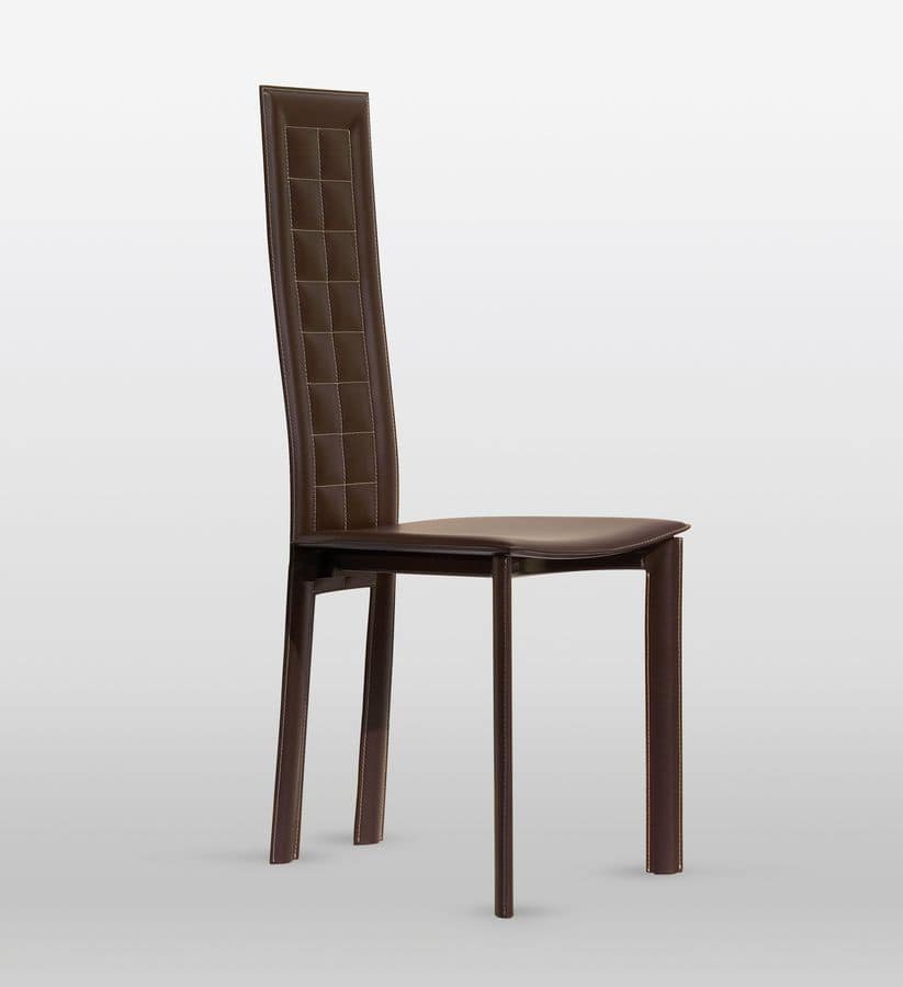 Lola, Leather chair, backrest has checkered stitching, for dining room