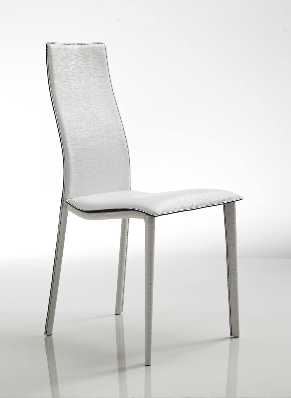 Lulu, Elegant chair, upholstered in white leather, with wavy seat