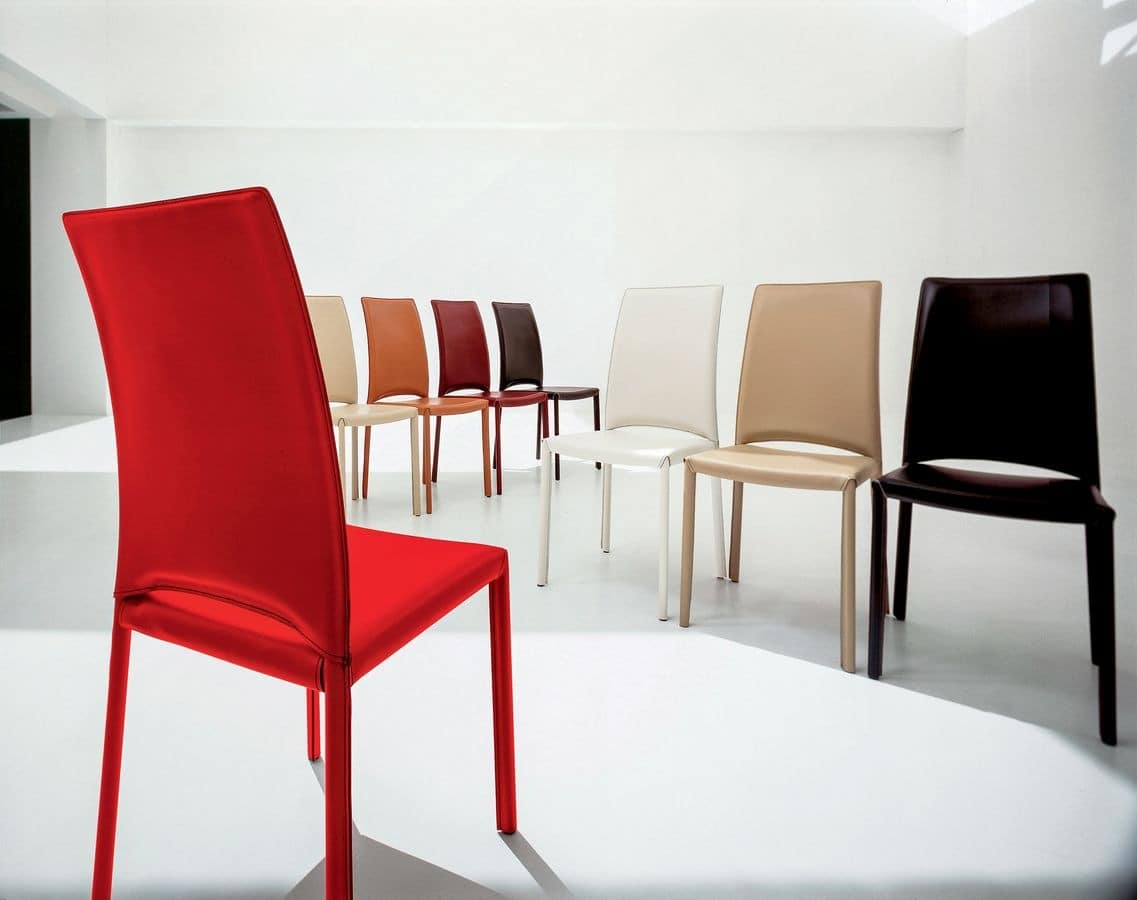 MADELEINE, Leather modern chair, for meeting room and restaurants