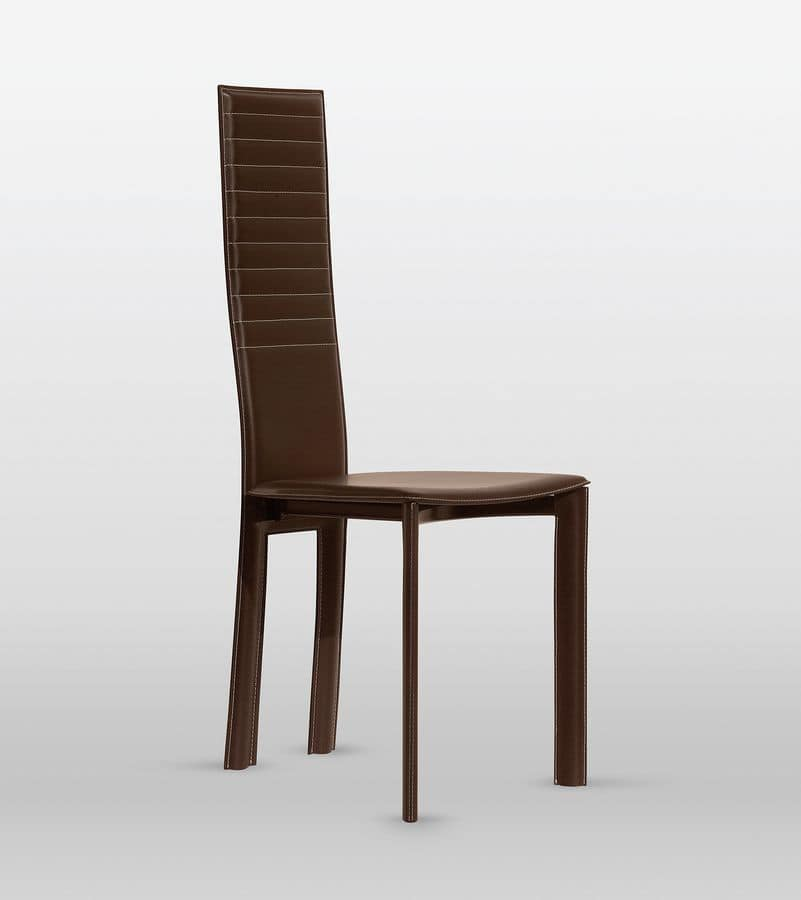 Magda, Leather chair, backrest with horizontal stitching, for dining room