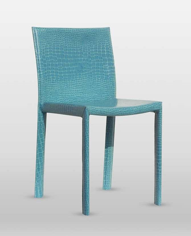 Malindi, Chair upholstered in thick leather, with steel frame, available in various colors