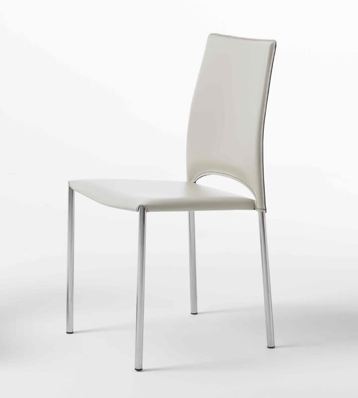 Mery, Chair with chromed metal legs, leather shell
