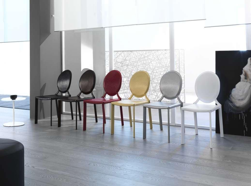 Miss, Leather chair, with round backrest, suitable for modern and classic environments