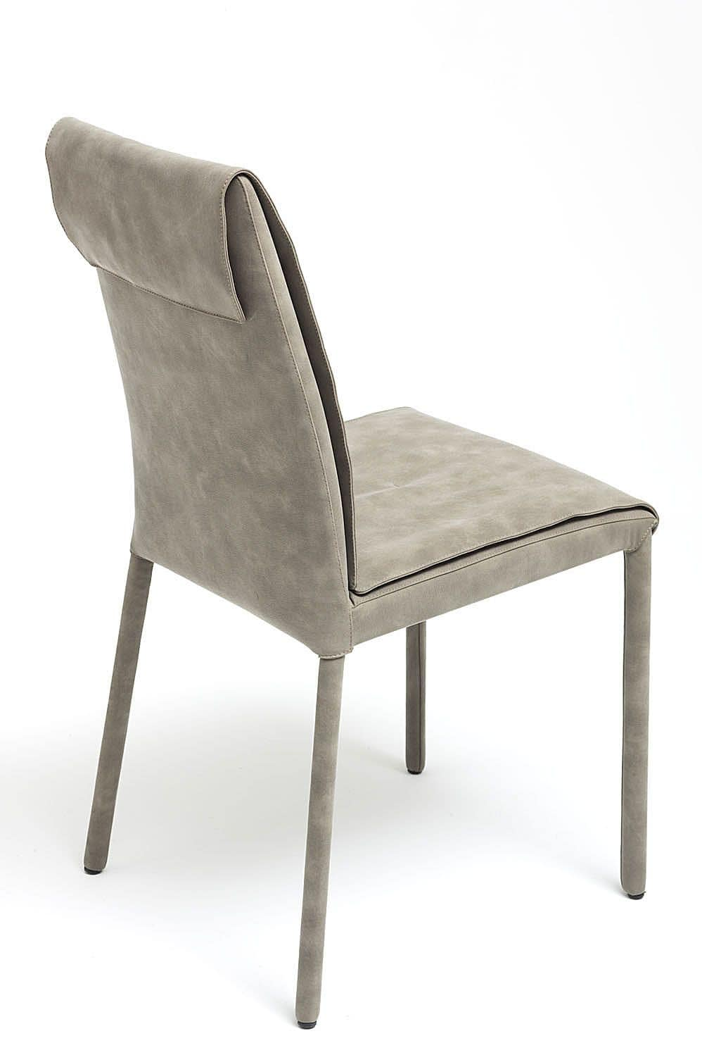Nancy, chair covered with nubuck, available in various colors and two heights