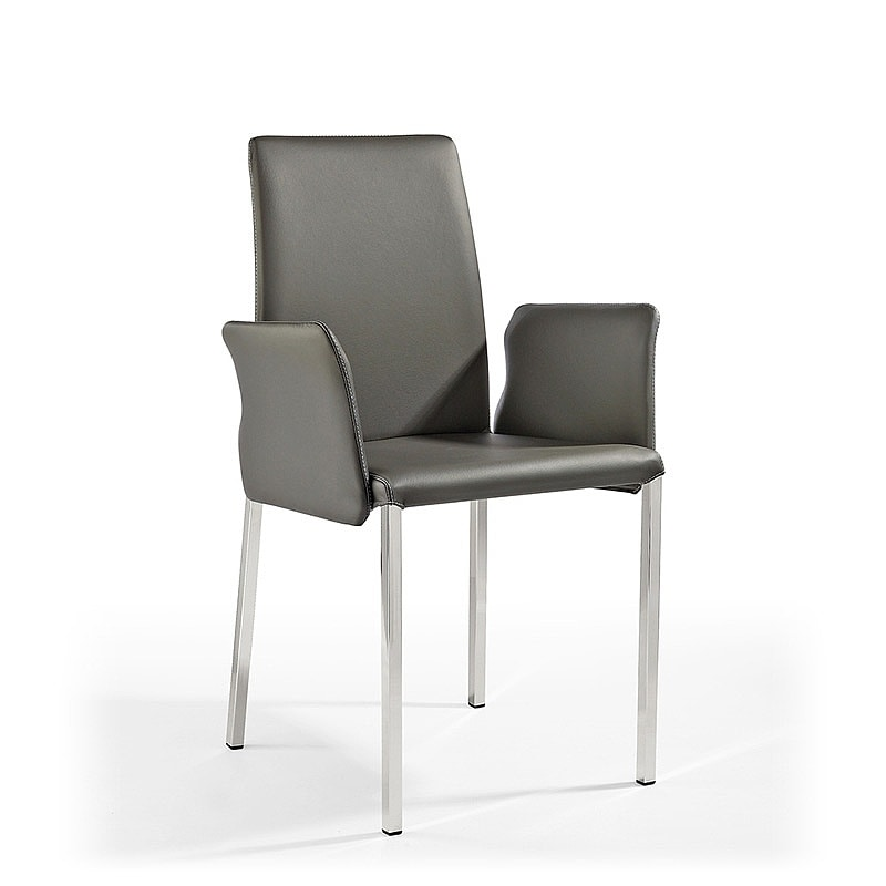 Ninfea Q BR, Modern chair in leather and rubber, for naval furniture