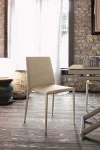 NIZZA SE603, Modern chair upholstered in leather for kitchens and bars
