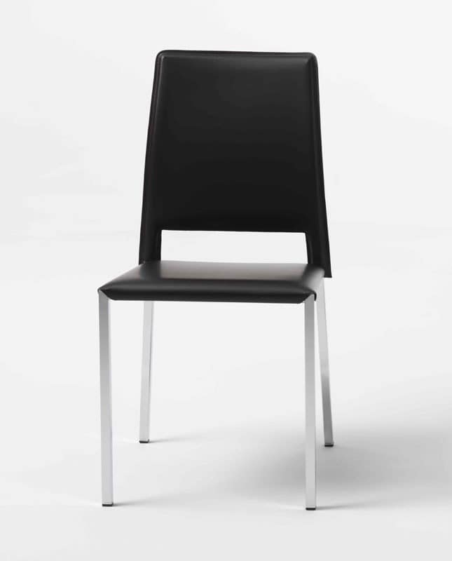 Nora Q, Chair in chromed metal, leather cover