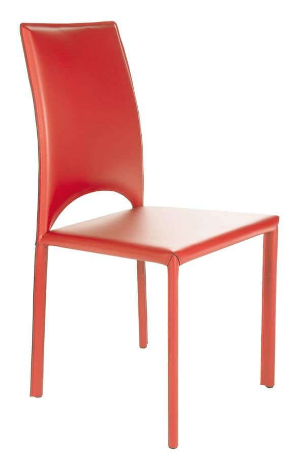Oderzo, Metal chair with leather covering suited for bars and restaurants