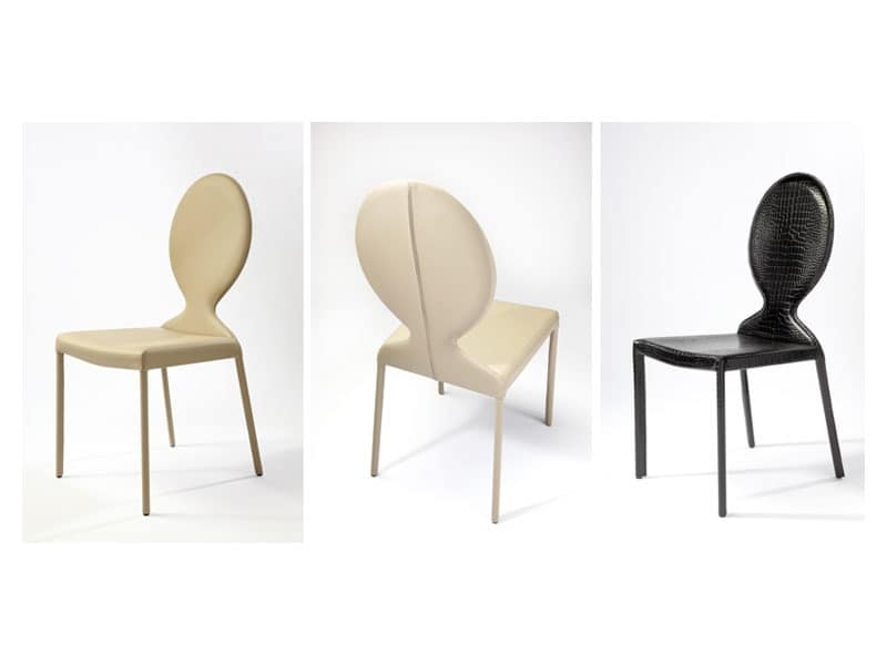 Ottocento, Leather modern chair, oval backrest, for hotel