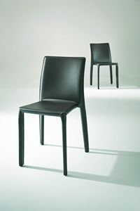 Parma, Leather-covered chair for restaurant and canteen