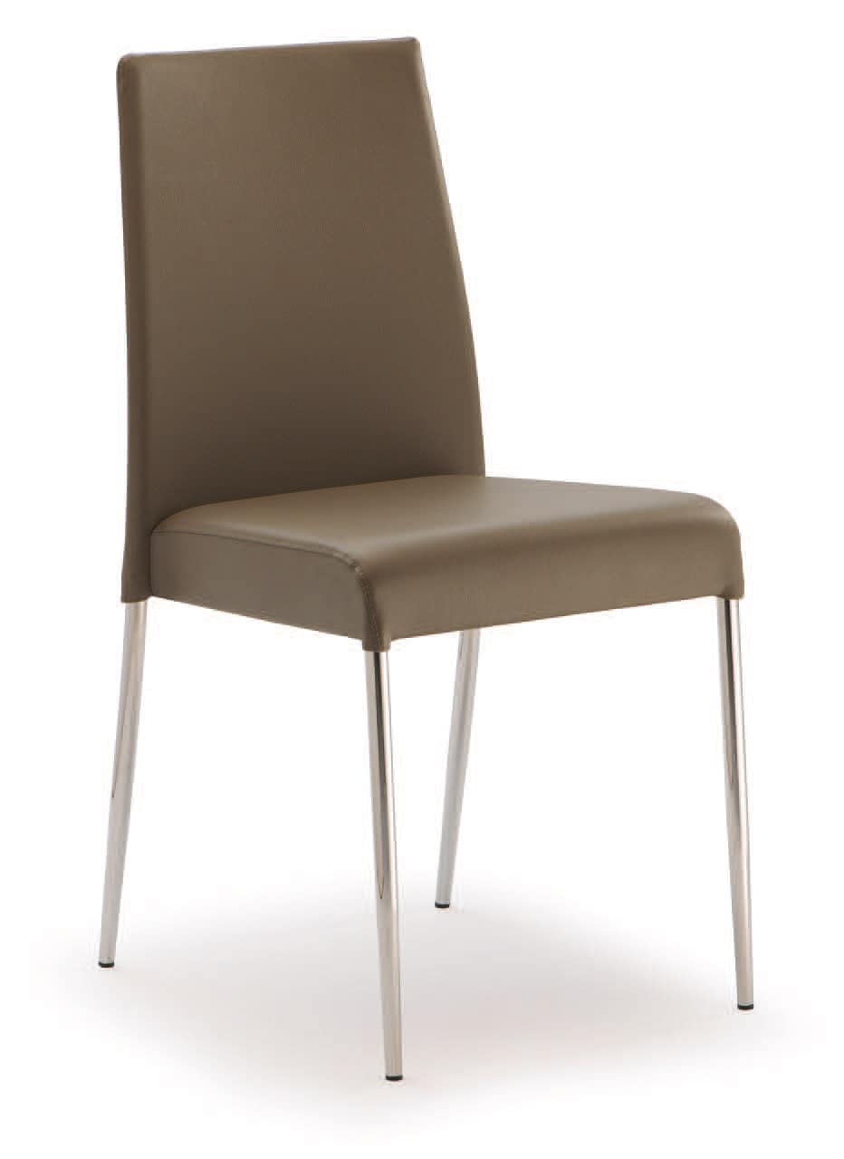 PL 621, Steel chair, upholstered in faux leather, for contract use