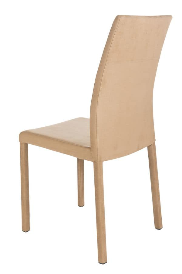 Possagno high, Chair with eco-leather covering suited for modern kitchens