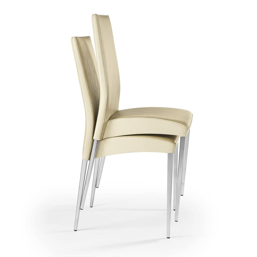 Regina stackable, Stackable chair in imitation leather