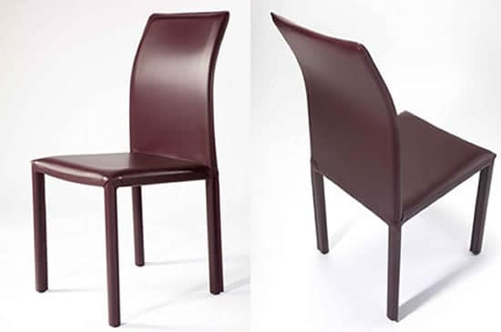Rose high, modern chair upholstered with fire-retardant foam rubber