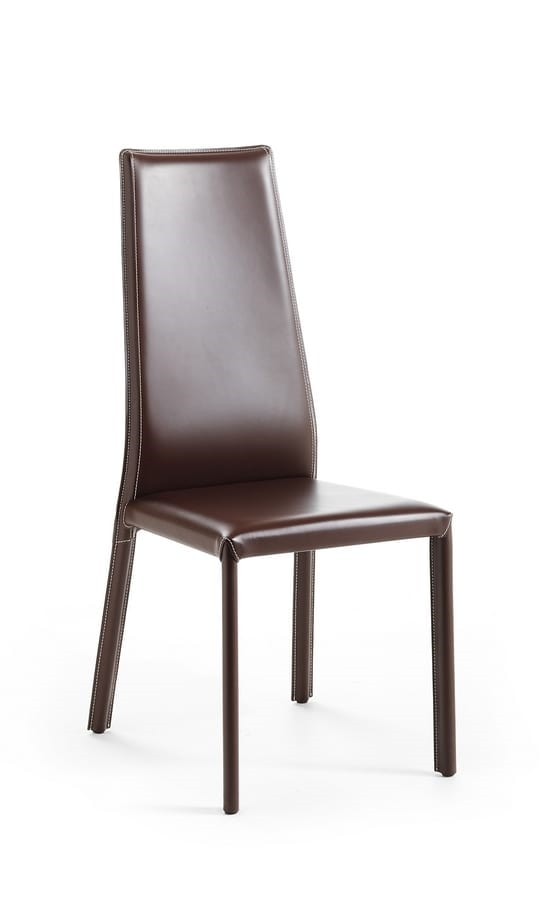 Rose, Leather chair, with high backrest, ideal for dining room