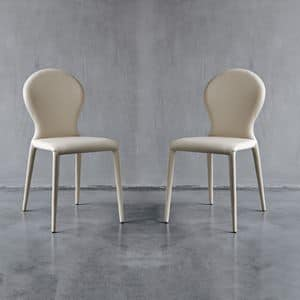 ROUND, Dining chair in non-deformable rubber and leather, restaurant