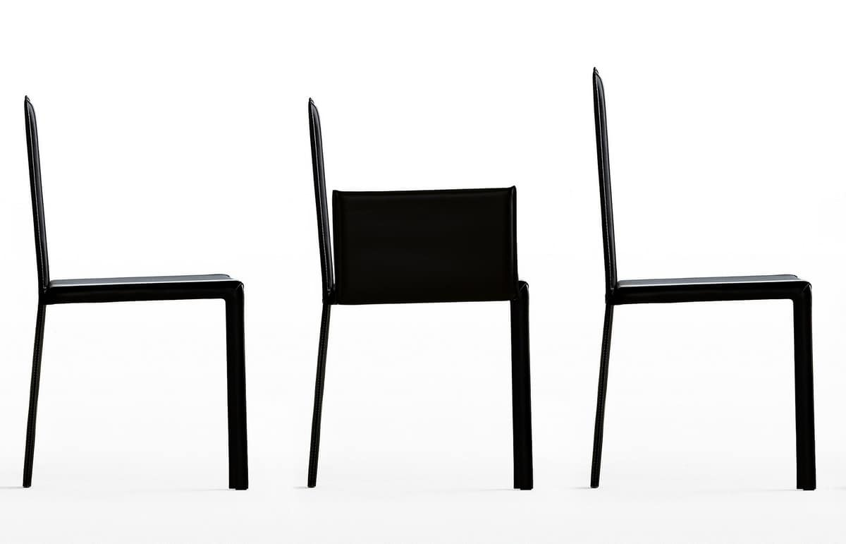 Slim, Essential chair upholstered in leather by hand