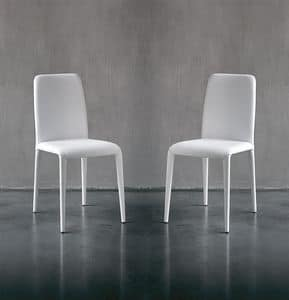 SOFT, Leather modern dining chair, in different colors, for hotels