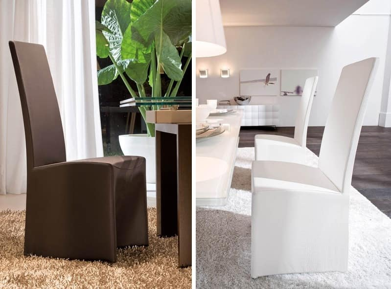 SORBONA, Dining chair completely covered in leather, for hotel