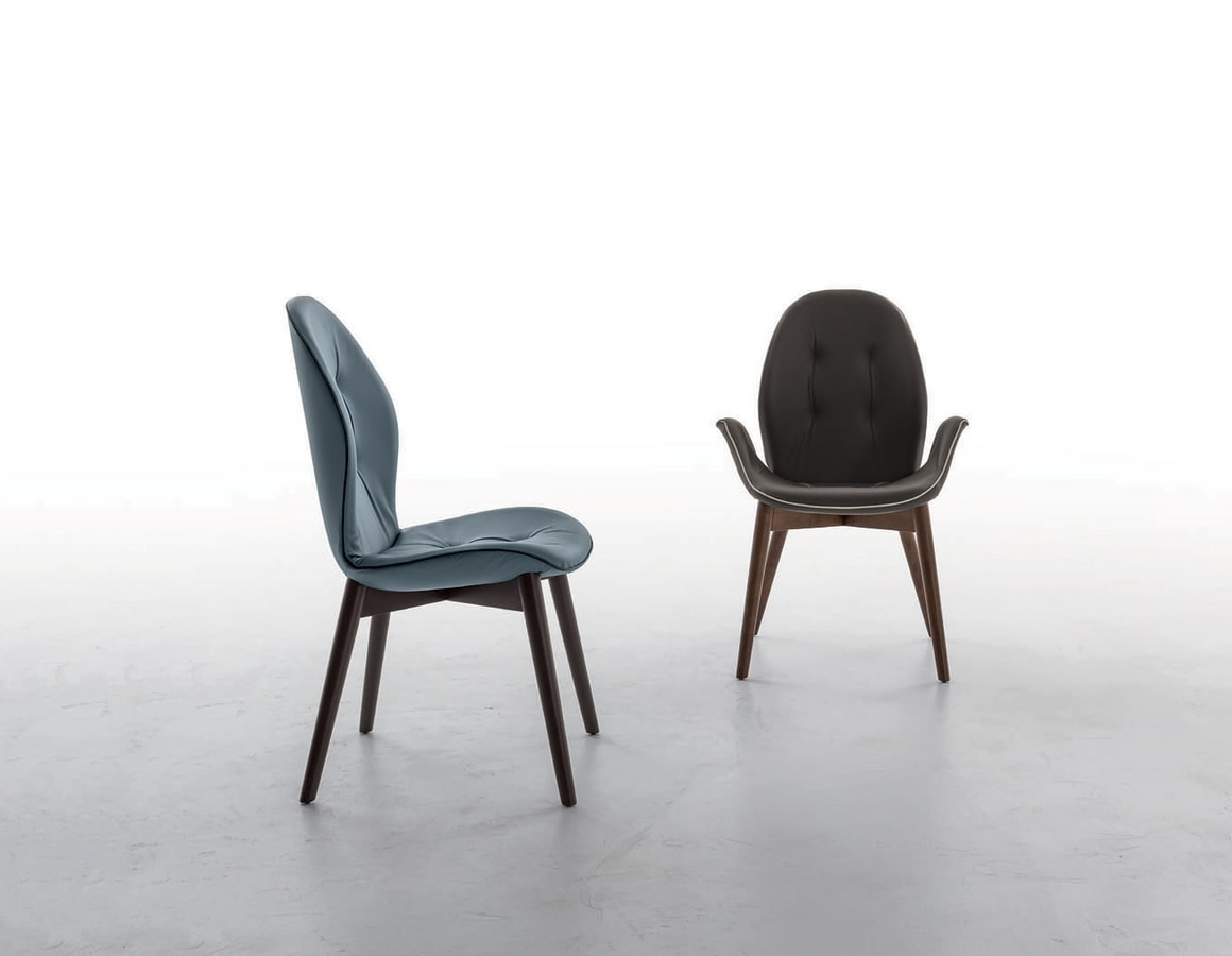 SORRENTO, Chair with or without armrest, upholstered in leather