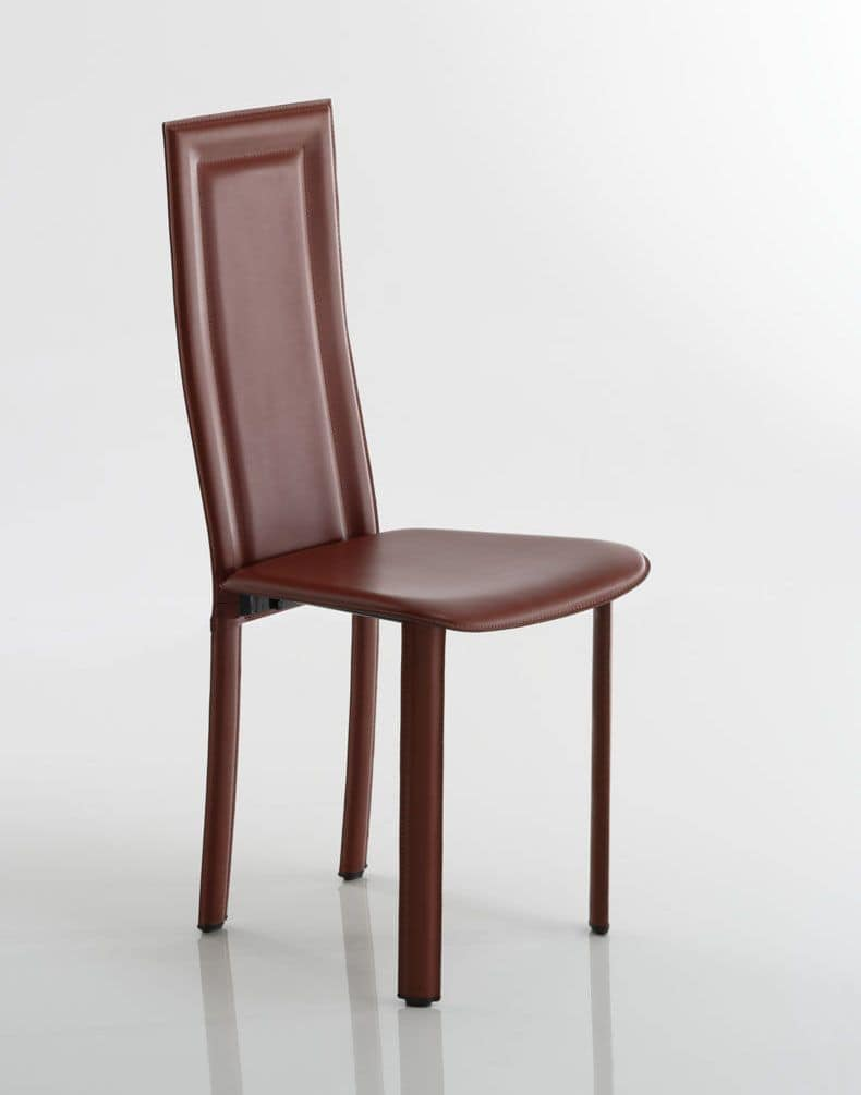 Tess, Chair upholstered in leather or regenerated leather, metal structure