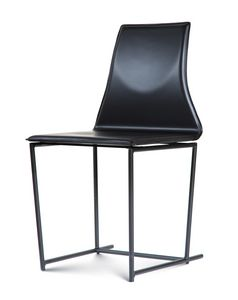Tessa, Metal chair, upholstered in leather